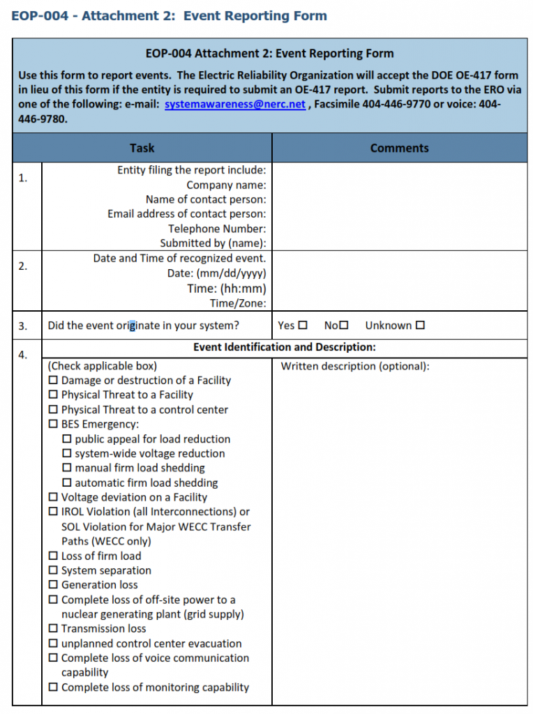 event reporting form